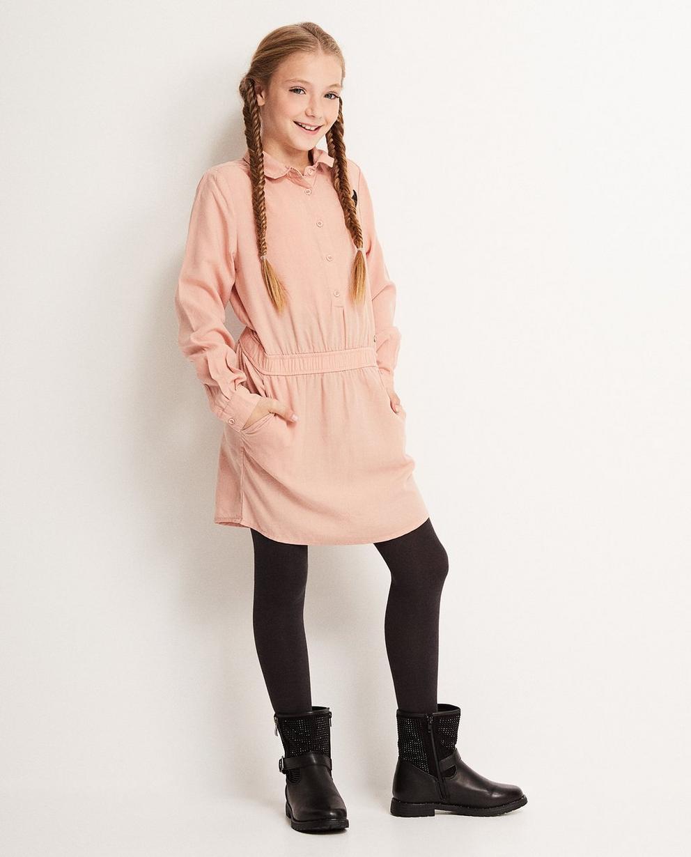Lyocell oudroze jurk - met leuke broche, I AM - I AM